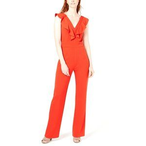 Bar III Ruffled Jumpsuit, Orange, Size 2